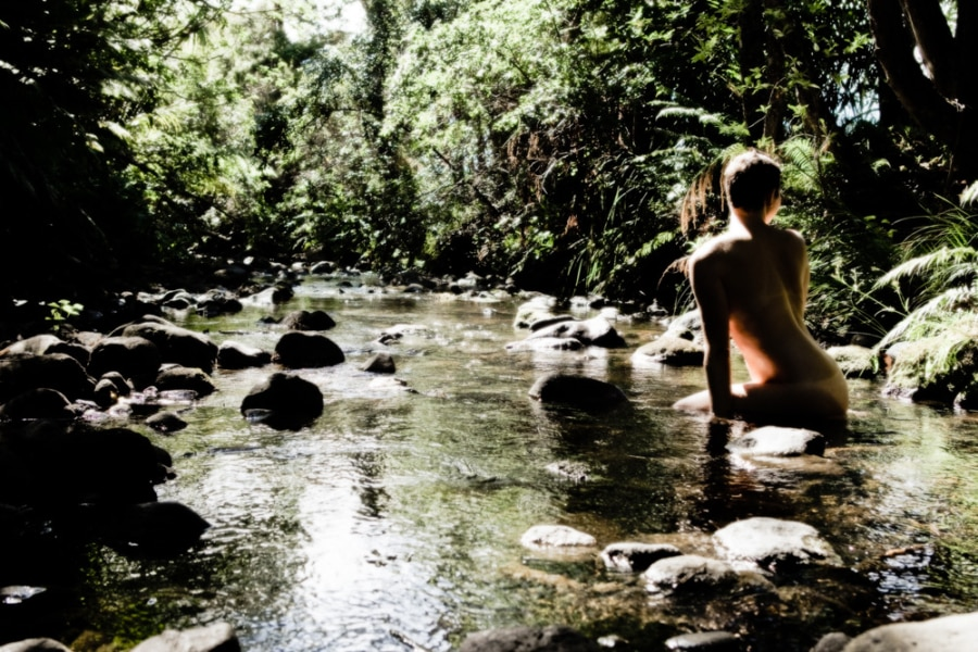 Nude art photography girl woman peaceful scene stream boundaries