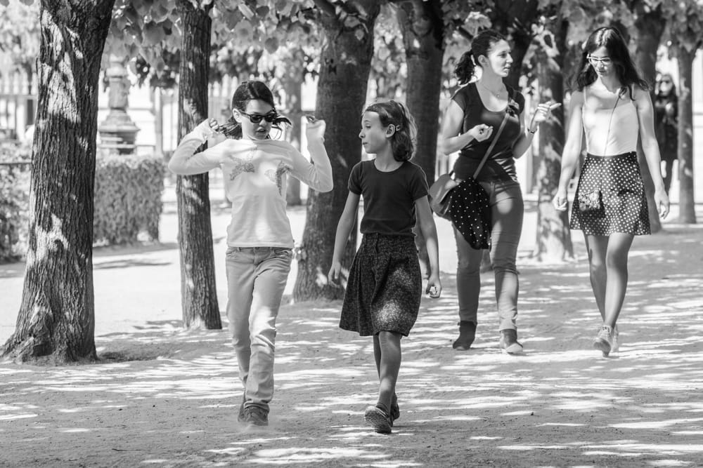 Christine Spring Kids in Paris Walk Black and White Play Youth