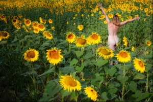 woman dancing in sunflowers