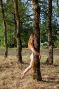 nude woman behind tree